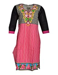 Global Women's Cotton Straight Kurta (GW72BlackD44015, Multi, 44)