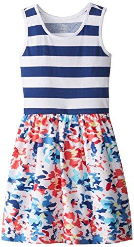The Children's Place Big Girls' Knit and Woven Dress, Indigo Sail, Medium/7/8