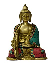 Ektacreations thai buddha meditating in peace harmony dhyan mudra laughing to get fortune prosperity gift 8.5cm(l) X 5cm(w) X 12cm(h)