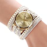 Suppion® New Women Crystal Rivet Bracelet Quartz Braided Winding Wrap Wrist Watch