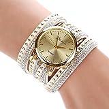 Suppion New Women Crystal Rivet Bracelet Quartz Braided Winding Wrap Wrist Watch