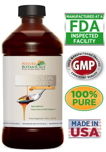 100% Pure Yacon Syrup, All Natural Sugar Substitute, Metabolism Booster (8 Oz.)