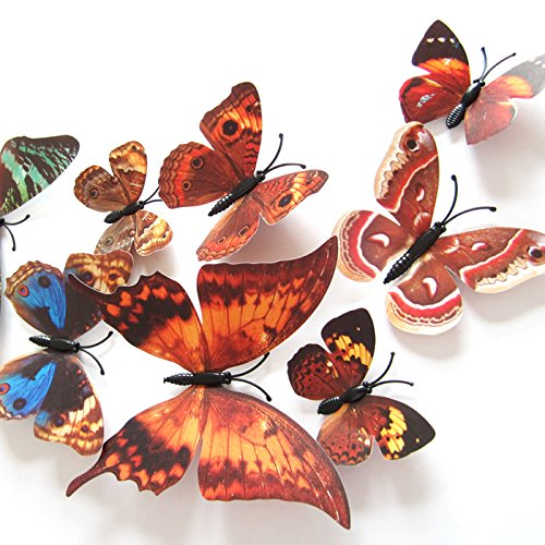 Amaonm® 60 Pcs 5 Packages Beautiful 3d Butterfly Wall Decals Removable Diy Home Decorations Art Decor Wall Stickers & Murals for Babys Bedroom Tv Background Living Room (Brown) (Brown Butterfly Decals compare prices)