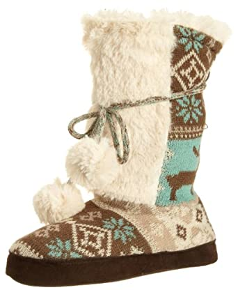Muk Luks Women's Jewel Slipper Boot, Frosty, X-Large