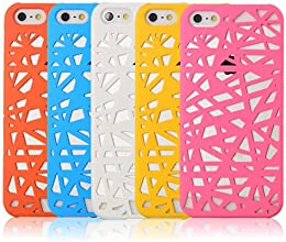 iXCC ® Rainbow Series 5-color Value Pack Hollow Pattern Design PC Case with Hard Plastic Floral Designed Back Slim [Ultra Fit] Cover Fit for iPhone 5 and iPhone 5s [ Antislip, Shock Resistant]
