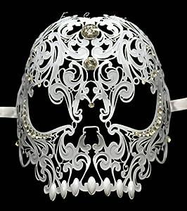 Unisex All Metal Skull Mask Laser Cut Venetian Halloween Masquerade Mask Costume Extravagant Inspire Design - White
