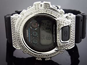Casio G Shock 4.5ct Full Case White Diamonds Watch Black Face G/h Color Si