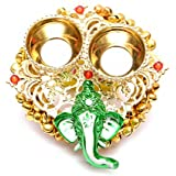 One Roof Store Microfiber Decorative Ganesha Plate With Katori (11 Cm X 12 Cm X 3 Cm, Gold And Green)