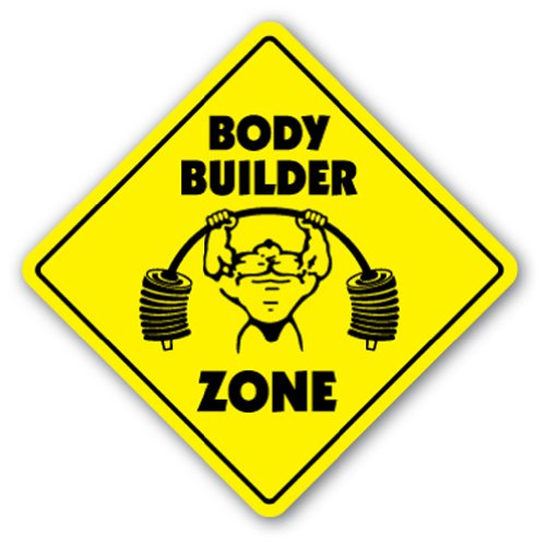 BODY BUILDER ZONE Sign xing weightlifter building