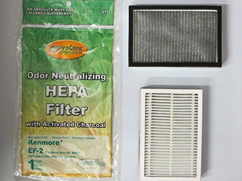 Kenmore Progressive EF 2 Pleated Vacuum HEPA Filter for 86880 Sears Vacuum Cleaners, C38KBRM, 20-86880, EF-2, 40320, 02080001000, 610445, MC-V194H, MCV194H, KER-1805, 748167711949, 471194 (2 Pack) (Kenmore Progressive Hepa Vacuum compare prices)