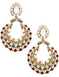 The Jewelbox 22K Gold Plated Maroon Green Meenakari Large Chaand Bali Earring For Women