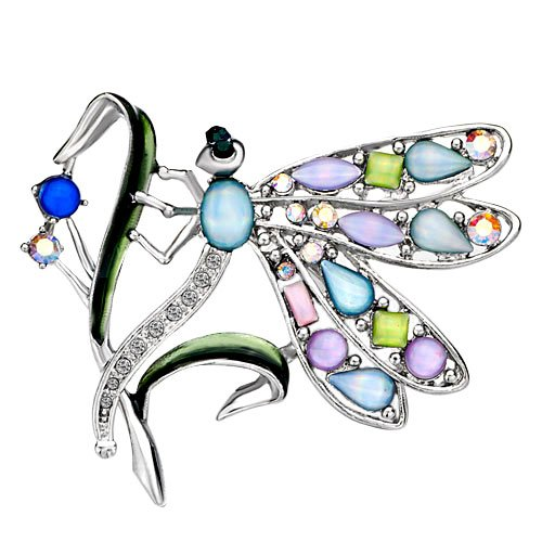 Pugster Silver Tone Dragonfly With Colorful Asscher
