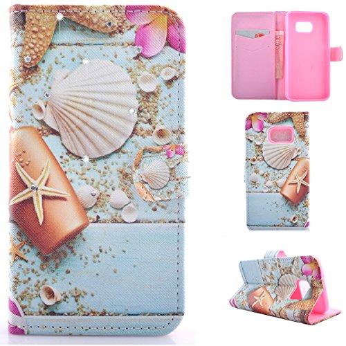 Flip Cover per Samsung Galaxy S7 Edge, Moonmini® Custodia Wallet a Portafoglio Libro in PU Pelle con 3D Brillantini Diamante Glitter, Stand, Slot & Chiusura Magnetica - Spiaggia