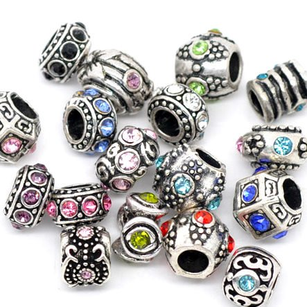 Ten (10) of Assorted Crystal Rhinestone Beads (Styles You Will Receive Are Shown in Picture Random 10 Beads Mix) Charms Spacers for Bracelets Fits Pandora, Biagi, Troll, Chamilla and Many Others