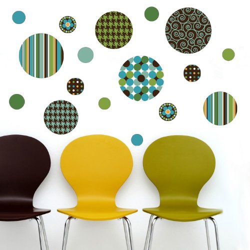 Delightful Dots Teal and Brown Wall Decal Stickers (Repositionable) Peel and Stick!