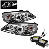 Carpart4u 6000K Xenon HID Performance Headlights Package for Pontiac G6 2/4DR Halo LED ( Replaceable LEDs ) Chrome Projector Headlights