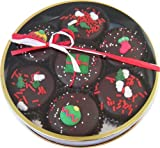 Christmas Decorated Dark Chocolate Oreo Cookie Tin -7 Oreos