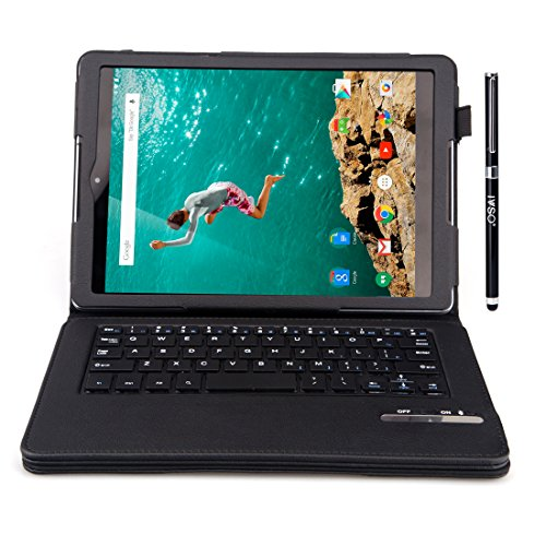 IVSO Google Nexus 9 8.9-inch Ultra-Thin High Quality Bluetooth Keyboard Portfolio Case – DETACHABLE Bluetooth Keyboard Stand Case / Cover for HTC Nexus 9 & Google Nexus 9 8.9-inch Tablet-With a Stylus Pen (Black Bluetooth Keyboard)