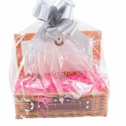 The Small Kimbolton with Pink Shred, Silver Bow,With love Greetings Card, Any Occasion Gift Basket, DIY Hamper Kit