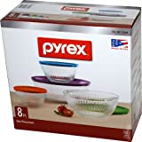 Pyrex 8 Piece Ribbed Bowl (4) Set Including Locking Lids