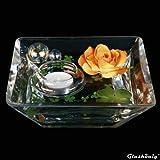 Eckige Glas-Schale Teelicht klein Länge X Breite 17cm Höhe 6cm.
