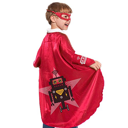 Red Robot Superhero Cape With Matching Eye Mask and Wristbands