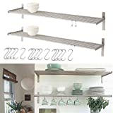 Set Of 2 Ikea Grundtal Stainless Steel Kitchen Shelves With 15 S Hooks