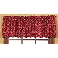 Country Style Burgundy, Golden Yellow, Chocolate Brown Wedding Ring Valance Scalloped Lined 16x72