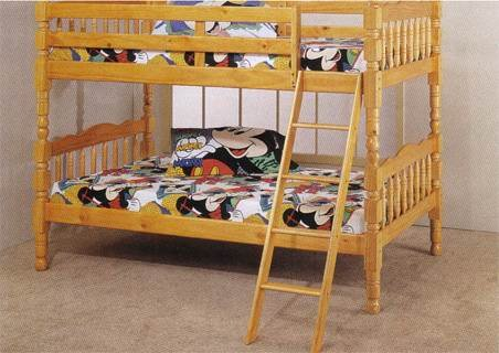 Twin Bunk Bed With Ladder Pine Finish front-1026681