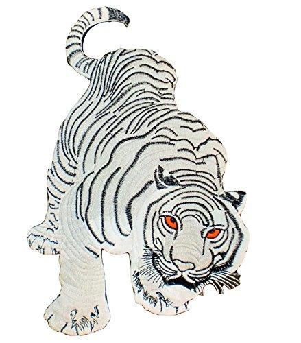 [White Tiger Cat Puma Jaguar Panthera Tigris Bengal Thai Silk Animals Wildlife Applique Embroidered Iron-on Patch Thailand Handmade Design 4