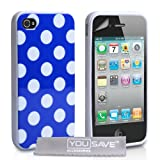 Yousave Accessories AP-GA01-Z326 Coque en gel silicone avec Protecteur cran pour iPhone 4 / 4S Bleu / Blancpar Yousave Accessories