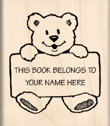 Custom Made & Personalized - This Book Belongs To: Bookplate Rubber Stamp - 1-3/4 inches x 2 inches (Custom Bookplates compare prices)