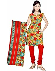 Sonal Trendz Beige & Red Color Leon Printed Art Silk Dress Material.Party Wear Festive Wear.