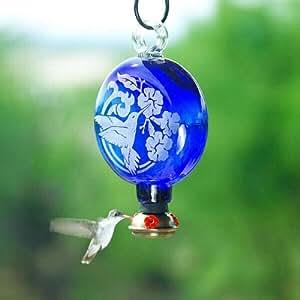 Parasol - SUN DROP HUMMINGBIRD ~ HUMMINGBIRD FEEDER - Hand Blown Recycled Glass - Blue Etched - SDHB