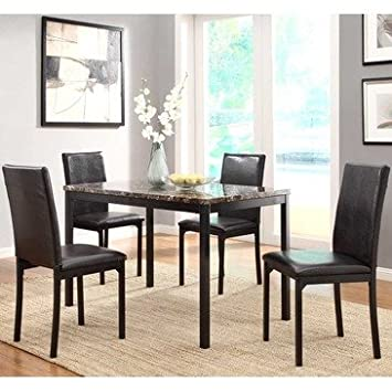 Homelegance Tempe 5 Piece Faux Marble Top Dining Room Set w/ Black Metal Base