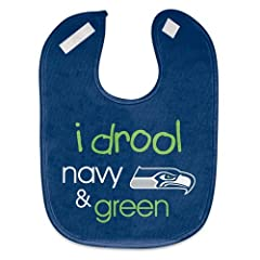 Buy Seattle Seahawks i drool navy & green Baby Bib by McArthur Sports Wincraft by McArthur
