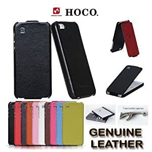 Genuine HOCO Duke Royal Series REAL Leather Flip Case Cover for Apple iPhone 5 - BLACK