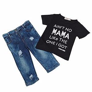 Efaster® Toddler Kid Infant Baby Boy Clothes T-shirt Top+Denim Pant Outfit Set (6T)