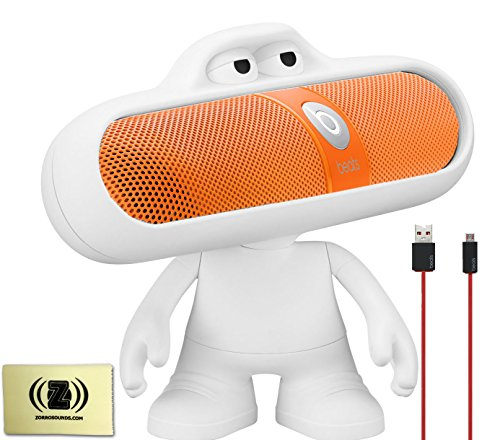 Beats By Dr. Dre Pill Portable Speaker (Neon Orange) Bundle With Beats Pill Dude (White), Beats Usb Cable (Type A To Micro B) And Custom Designed Zorro Sounds Cleaning Cloth