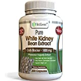 100% Pure White Kidney Bean Extract 1800mg serving (200 Capsules) Best Carb and Fat Blocker & Starch Intercept Supplement For Weight Loss