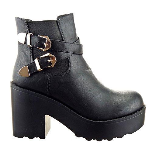 Sopily - Scarpe da Moda Stivaletti - Scarponcini chelsea boots alla caviglia donna fibbia multi-briglia Tacco a blocco tacco alto 9.5 CM - soletta sintetico - foderato di pelliccia - Nero CAT-FD176 T 35