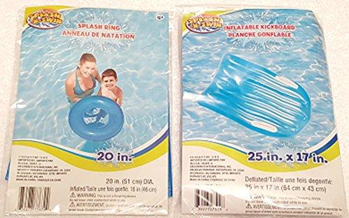 blue-inflatable-kick-board-splash-ring-set-splash-n-swim-swimming-pool-toys