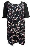 Womens Evans Ex Stock Plus Size Bird Floral Print Tunic Smock Top Blouse (18)