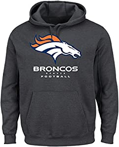 NFL Denver Broncos Men's Our Team Long Sleeve Screen Print Hooded Fleece Pullover, Large, Charcoal Heather