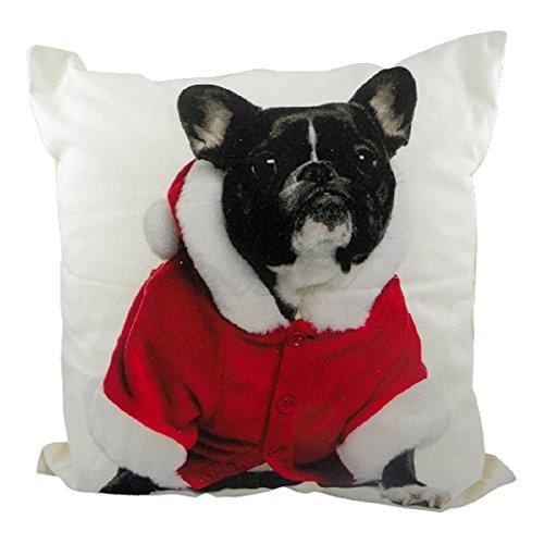 kissen bulldogge hund mit weihnachtskost m franz sisch bulldog schwarz weihnachten auf den. Black Bedroom Furniture Sets. Home Design Ideas