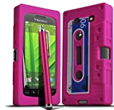 ONX3 Blackberry 9860 Torch Hot Pink Retro Cassette Tape Silicone Case Skin Cover + Hot Pink High Capacitive Stylus Pen + LCD Screen Protector Guard