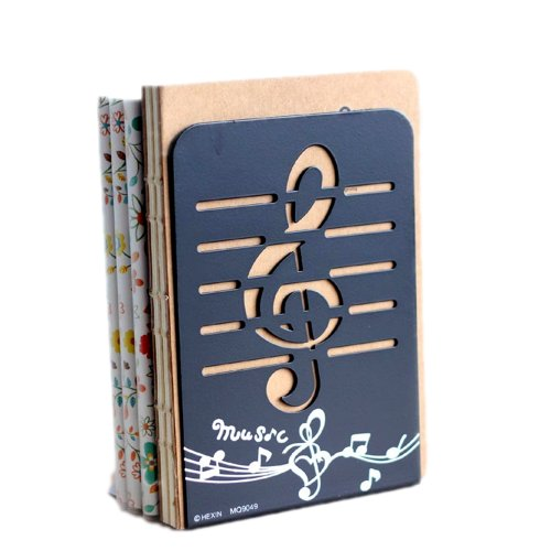 L-Zone 1pair Musical Note Nonskid Bookends Bookend Gift 7.8inch(Color may Varies)