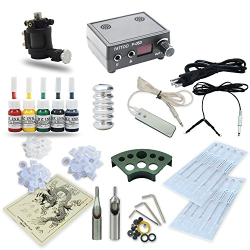 Complete Tattoo Kit Rotary Machine Gun 5 Color Inks Power Supply