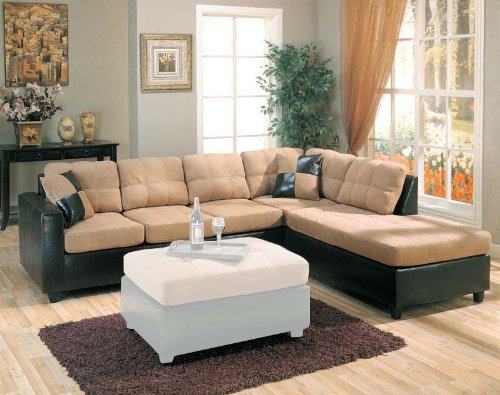 Discover Sectional Sofa Chaise With Tan Microfiber In Black Leather Like
