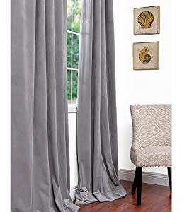 Signature Silver Grey Blackout Velvet Curtain from Exclusive Fabrics & Furnishings